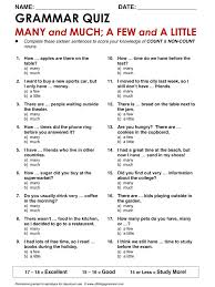 Exercises Count And Non Count Nouns Grammar Many And Much A Few And A