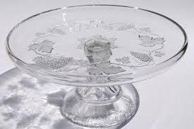 Crystal Pedestal Cake Stand Vintage Grapes Grape Pattern Glass Cake Stand Crystal Clear