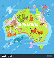 continent map australia continent map landscapes stock vector
