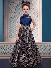 attractive navy blue kids wear gown