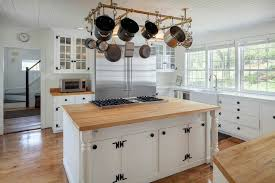 oil rubbed bronze pot rack with lights awesome pot rack over island transitional kitchen pertaining to