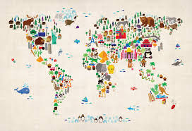World Map Wallpaper by Wallpaper Kids Animal Map Of The World