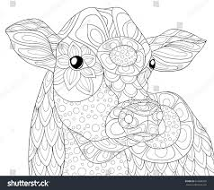 coloring page cow art style stock vector 624968300