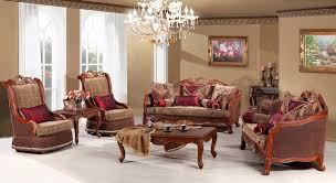 traditional living room furniture gold leather sofa and wood table