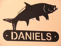 fishing decor for homes tarpon fish address name plaque sign