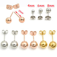 surgical stainless steel earrings 2piece 0 8mm gold surgical stainless steel stud earring