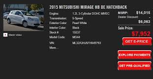 2015 mitsubishi mirage 3 500 factory rebate crazy deal