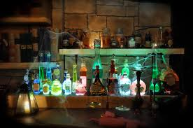 magic potion display rack bottles and vials sit atop a template