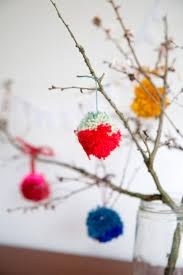 the little things making pompoms for a spring branches bouquet