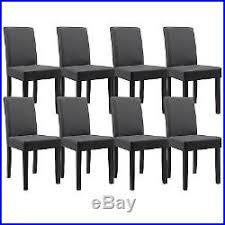 chaise simili cuir gris 8x en casa chaises dossier haut salle à manger gris foncé