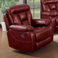 Faux Leather Recliner El Paso Walnut Top Grain Leather Match Rocker Recliner Chair By