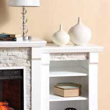 Electric Fireplace White Sei Empire Simulated Stone Infrared Electric Fireplace White