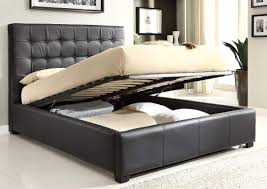 black leather queen platform bed with lift top storage and