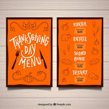 creative orange thanksgiving menu template vector free
