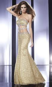 cut out back and sides sequin lace long strapless gold prom