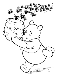 pooh the honey bear pursued by of bees coloring pages