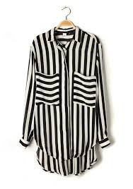 black and white striped blouse multicolor striped pockets lapel sleeve chiffon blouse