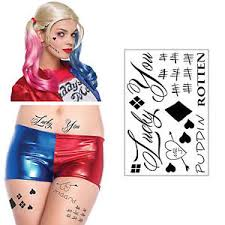 harley quinn hq temporary tattoos sheet halloween costume cosplay