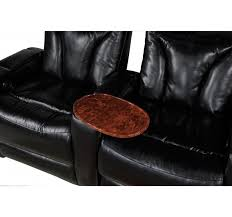 carmel black bonded leather 2 arm power recliner with storage arm