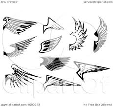 clipart black and white wing designs 1 royalty free vector