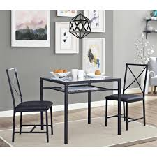 mainstays 3 piece metal and glass dinette black walmart com