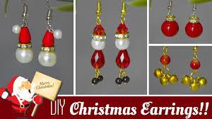 4 diy christmas earrings in minute how to make santa jingle