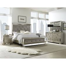 Silver Queen Bed Celine 5 Piece Mirrored And Upholstered Tufted King Size Bedroom