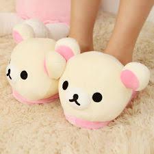 Bedroom Shoes For Womens Womens Soft Cute Rilakkuma Bear Big Head Indoor Slippers