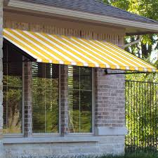 Awnings For Doors At Lowes Shop Awntech 220 5 In Wide X 36 In Projection Yellow White Stripe