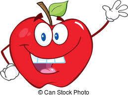 apple cartoon two apple characters waving happy cartoon apples waving a eps