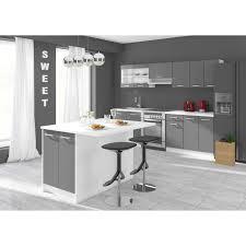 ilot cuisine alceo ilot de cuisine l 100cm avec plan de travail inclus gris mat