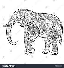 elephant coloring page graceful exquisite style stock vector