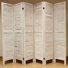 canvas room divider cream 6 panel wooden slat room divider home privacy screen