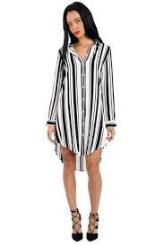 urban mist long sleeve striped shirt dress with curved hem urban