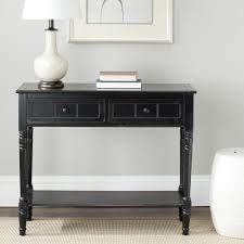 black sofa table with drawers the samantha console in a distressed black finish wraps an