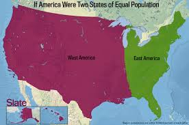 Map Of Usa East Coast by If Every U S State Had The Same Population What Would The Map Of