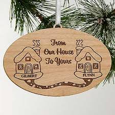 personalized engraved wood ornament our house to yours