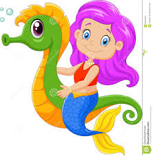 cartoon happy mermaid swimming seahorse stock vector image