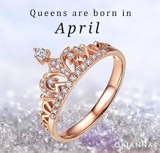 birthstone ring ornate crown april birthstone ring oriannas