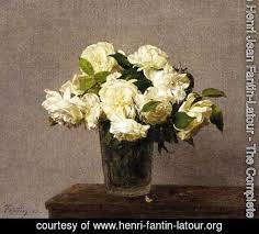 White Roses In A Vase Ignace Henri Jean Fantin Latour The Complete Works White Roses