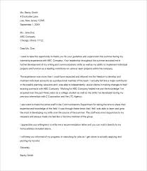 internship thank you letter 10 free sle exle format