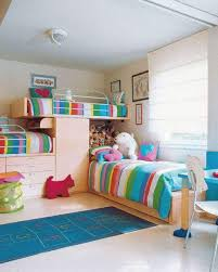 unisex kids bedroom with stripes bedding decorating ideas for