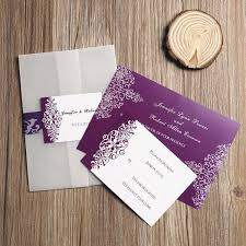 affordable pocket wedding invitations purple vintage damask printed cheap pocket wedding invitations