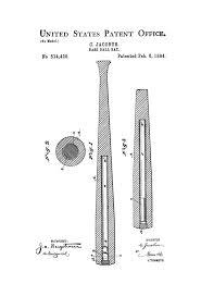 Wall Blueprints by 1894 Baseball Bat Patent Patent Print Wall Decor Baseball Art
