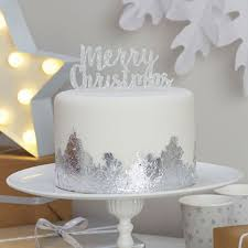 Cheap Christmas Cake Decorations Uk by Merry Christmas Silver Cake Topper Christmas Metallics Ginger Ray