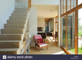 open plan staircase with storage in maison en bois wooden house