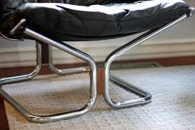 pair of black leather sling chairs by ingmar relling for westnofa
