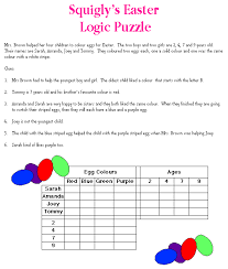 Printable Logic Puzzles Squigly U0027s Easter Logic Puzzle