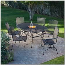 Antique Rod Iron Patio Furniture by Black Wrought Iron 7 Piece Patio Set Wherearethebonbons Com