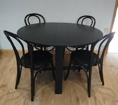 round drop leaf table and 4 chairs ikea round drop leaf table 4 chairs black ash in hton london
